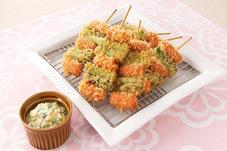 ウインナーとアスパラの串カツ 菜の花タルタル