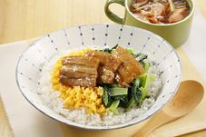 合格煮丼&ウインナーと春雨のスープ