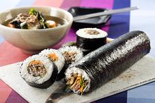 オレガノビーフのキンパ風太巻き&韓国風スープ