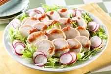 鶏ハムと水菜の梅わさびだれかけ