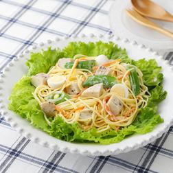 サラダチキンの春色スパゲッティ