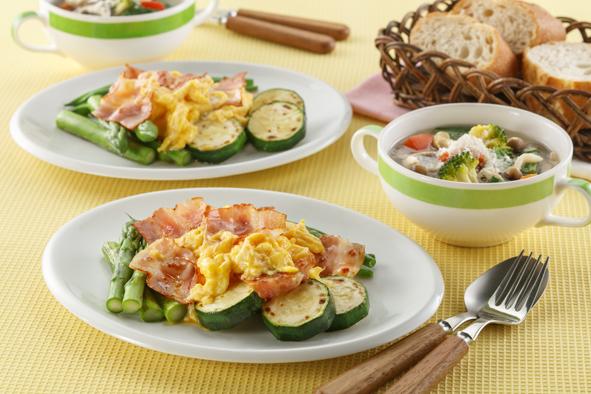 プリマヘルシー 糖質ゼロシリーズ ベーコンの 朝食メニュー