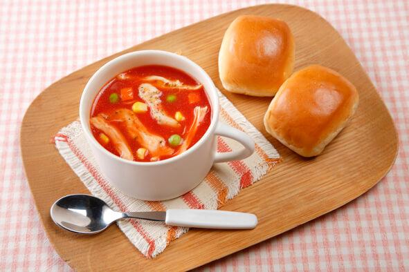 レンジで簡単!サラダチキンのトマトスープ