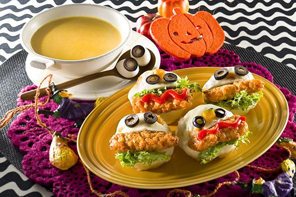 かぼちゃ蒸しパンとかぼちゃのクリームスープ